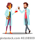 Doctor Man, Woman Holding A Glass Of Coffee In Hand, Coffee Break Vector. Isolated Cartoon 46108909