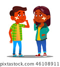 Sad Indian Child Girl, Boy With Cross With Scratch And Cross Medical Patch On Cheek Vector. Isolated 46108911