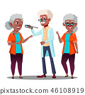 Black Afro American Oculist Doctor Giving Glasses To Old Woman Patient With Vision Problem Vector 46108919