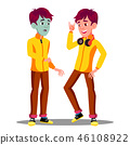 Sick Teen Guy With Green Face, Before And After Vector. Isolated Cartoon Illustration 46108922