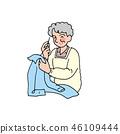 바느질을하는 할머니 46109444