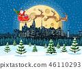Santa claus rides reindeer sleigh 46110293