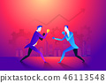 Business fight club. Boxing and glove, businesspeople and violence, boxer strength. Vector 46113548