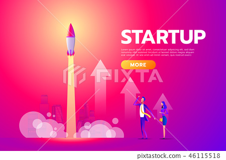 Successful deal, contract, agreement. Man and woman looking, startup, rocket launch. Poster for 46115518