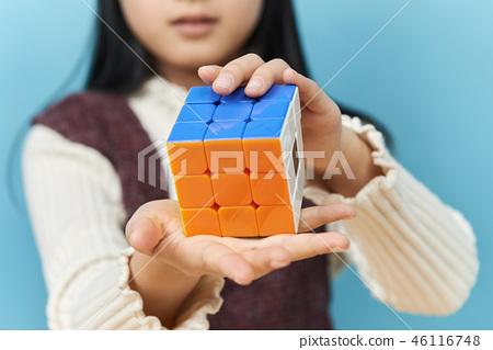 큐브, 퍼즐, 어린이, 돌리는 손 46116748