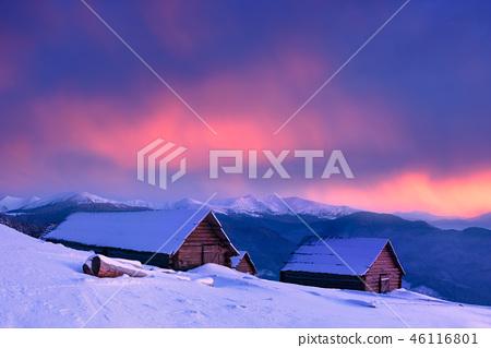 Stunning sunset in a mountain village 46116801