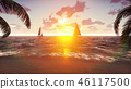 The yacht sails past a tropical island on the background of a beautiful sunset. Summer scene. 3D 46117500