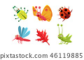 Flat vector set of cute insects and red leaf. Grasshopper, butterfly, ladybug and mosquito. Funny 46119885