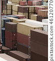 Shipping Containers Stacked At Busy Cargo Port 46120770