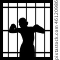 Man in jail behind bars 46120986