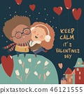 Cartoon couple in love celebrating Valentines Day 46121555