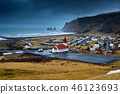 Beautiful Red Church at Vik village, Iceland. 46123693