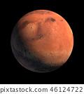 Mars Planet Isolated with Sunlight Illumination 46124722