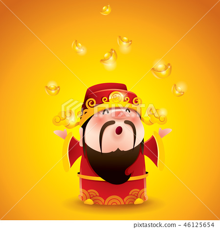 Chinese God of Wealth. Gold Falling. 46125654