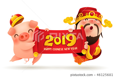 Chinese God of Wealth and Little Pig with scroll 46125681