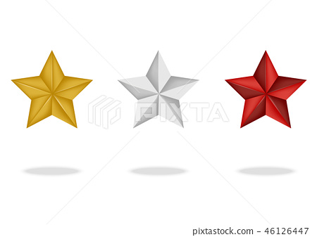 3D Premium Star With Shadow on White Background 46126447