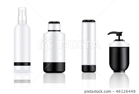 Mock up Realistic Black, White and Metal Bottle 46126449