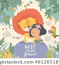 Cute cartoon girl hugging the lion. Best friends 46126518