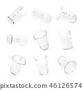 3d rendering of nine measuring cups on a white background. 46126574