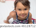 Little girl with varicella, chicken pox, small pox 46128712