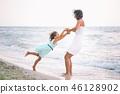 daughter, beach, kid 46128902