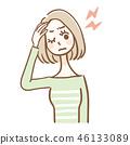 头痛的女人上半身 46133089