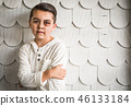 Sad Mixed Race Boy With Bruises and Black Eye 46133184