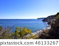 ทะเลอิสึที่สงบเงียบที่กระจายอยู่ในท้องฟ้าฤดูใบไม้ผลิที่ชัดเจน 46133267