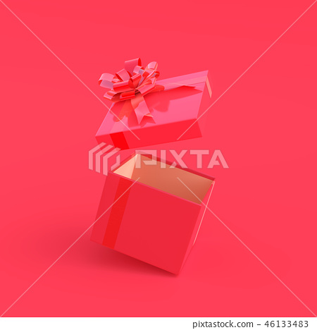 Pink gift box on pink background 46133483