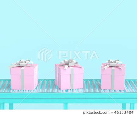 Pink gift box on conveyor roller and blue pastel 46133484