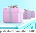 pink gift box on conveyor roller. 46133485