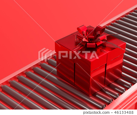 New year and christmas concept Red gift box. 46133488