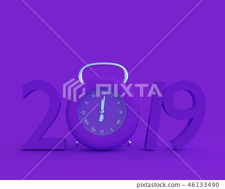 New year 2019 concept and Clock purple color. 46133490