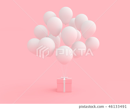 Pink gift box with balloon white color 46133491