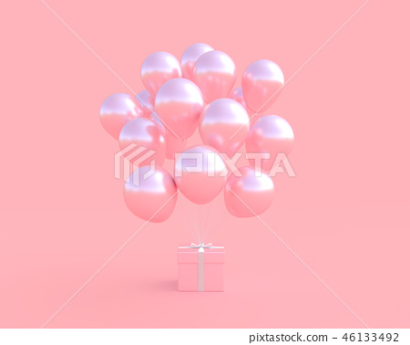 Pink gift box with balloon on pink background. 46133492