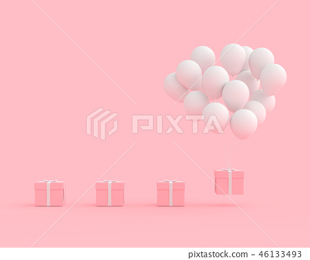 minimal concept Pink gift box with balloon 46133493