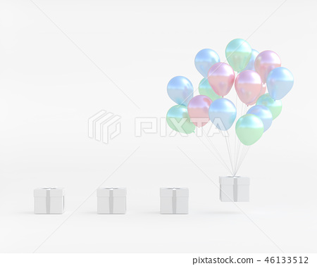 White gift box with balloon pastel color 46133512