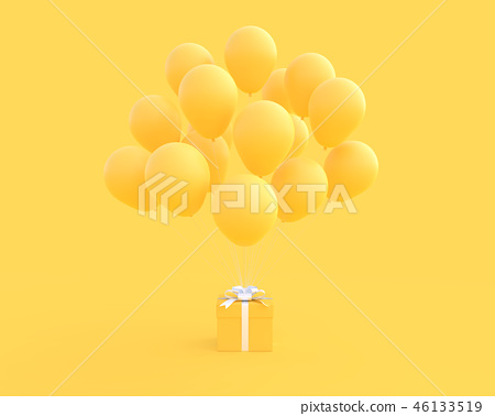 Yellow gift box with balloon on yellow background 46133519