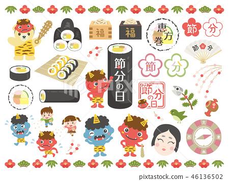 Setsubun插圖日,角色素材集1 46136502