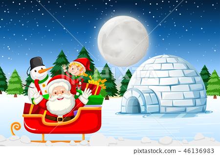 Santa at the winter landscape 46136983