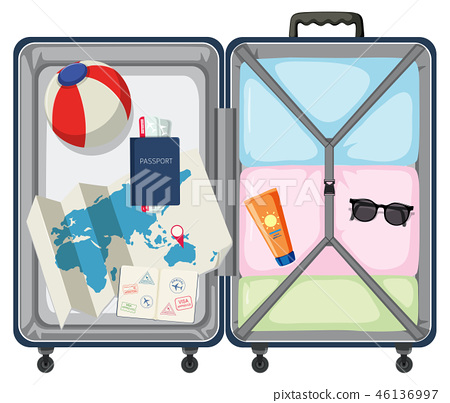 Modern suitcase with travel object 46136997
