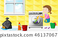 Girl doing laundry in the room 46137067