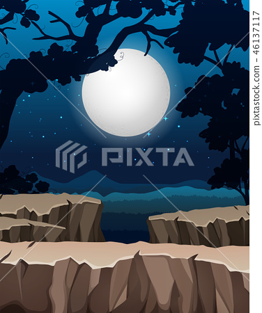 Night forest silhouette background 46137117