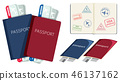 Set of passports and boarding pass 46137162