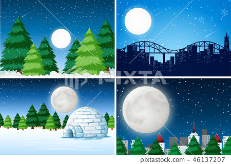 Set of outdoor winter landscape 46137207