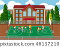 Children playing basketball scene 46137210