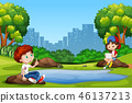 Boy and girl at the park 46137213
