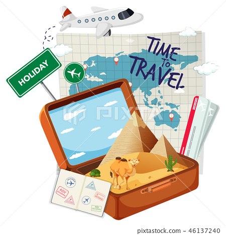 Vintage suitcase with travel element 46137240