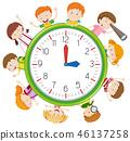 Children on clock template 46137258