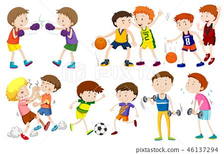 Set of boys doing activites 46137294